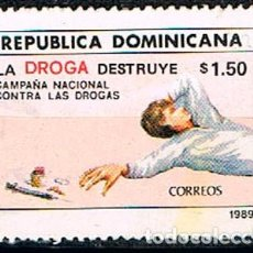 Sellos: REPÚBLICA DOMINICANA Nº 1608, CAMPAÑA NACIONAL DE LUCHA CONTRA LA DROGA, USADO. Lote 198312735