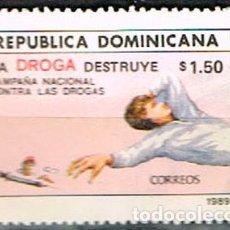Sellos: REPÚBLICA DOMINICANA Nº 1608, CAMPAÑA NACIONAL DE LUCHA CONTRA LA DROGA, SIN MATAR. Lote 198313023