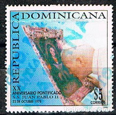 REPÚBLICA DOMINICANA Nº 1924, 20 ANIVERSARIO DEL PAPADO DE JUAN PABLO II, USADO (Sellos - Extranjero - América - República Dominicana)