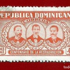 Sellos: REPUBLICA DOMINICANA. 1963. CENTENARIO DE LA RESTAURACION. Lote 210136998