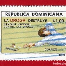 Sellos: REPUBLICA DOMINICANA. 1989. CAMPAÑA NACIONAL CONTRA LAS DROGAS. Lote 210313465