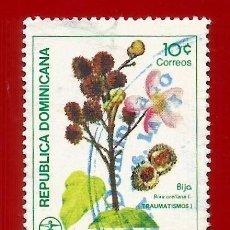 Sellos: REPUBLICA DOMINICANA. 1986. PLANTAS MEDICINALES. BIJA. Lote 210317887