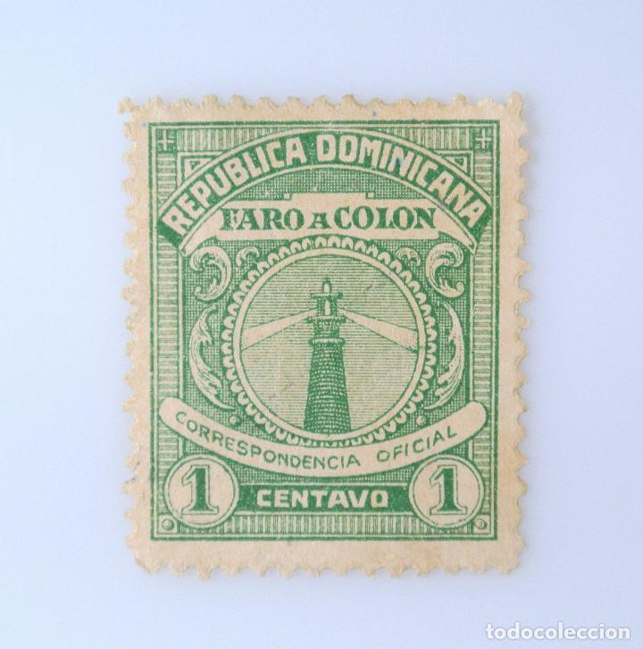 SELLO POSTAL REPUBLICA DOMINICANA 1928, 1 ¢, FARO A COLON, USADO (Sellos - Extranjero - América - República Dominicana)
