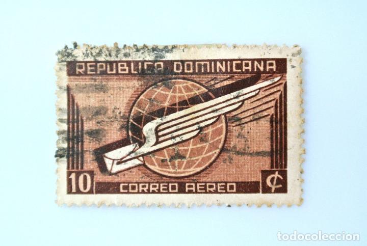 SELLO POSTAL REPUBLICA DOMINICANA 1942, 10 ¢ , CORREO AEREO, USADO (Sellos - Extranjero - América - República Dominicana)
