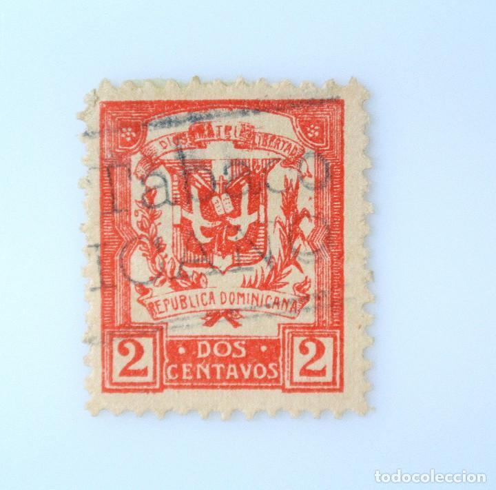 SELLO POSTAL REPUBLICA DOMINICANA 1924, 2 ¢ , ESCUDO DE ARMAS ,RAREZA FALLO IMPRESION, USADO (Sellos - Extranjero - América - República Dominicana)