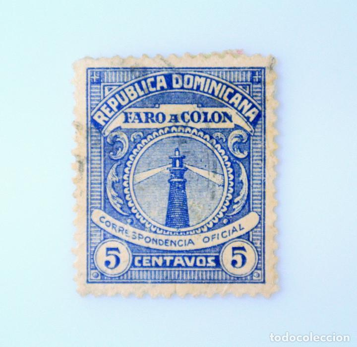 SELLO POSTAL REPUBLICA DOMINICANA 1928, 5 ¢ , FARO A COLON, USADO (Sellos - Extranjero - América - República Dominicana)