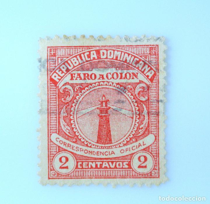 SELLO POSTAL REPUBLICA DOMINICANA 1928, 2 ¢ , FARO A COLON, USADO (Sellos - Extranjero - América - República Dominicana)
