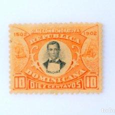 Sellos: SELLO POSTAL REPUBLICA DOMINICANA 1902, 10 ¢ , FRANCISCO DEL ROSARIO SANCHEZ, USADO. Lote 229838895
