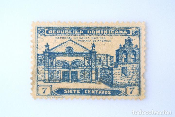 SELLO POSTAL REPUBLICA DOMINICANA 1931, 7 ¢ , CATEDRAL DE SANTO DOMINGO, USADO (Sellos - Extranjero - América - República Dominicana)