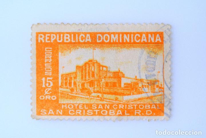 SELLO POSTAL REPUBLICA DOMINICANA 1950, 15 ¢ ,HOTEL SAN CRISTOBAL, VARIANTE NARANJA, USADO (Sellos - Extranjero - América - República Dominicana)