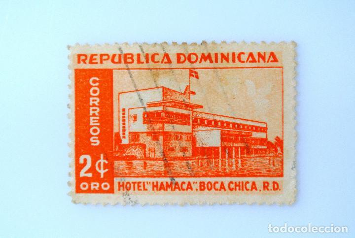 SELLO POSTAL REPUBLICA DOMINICANA 1952, 2 ¢ ,HOTEL HAMACA, USADO (Sellos - Extranjero - América - República Dominicana)