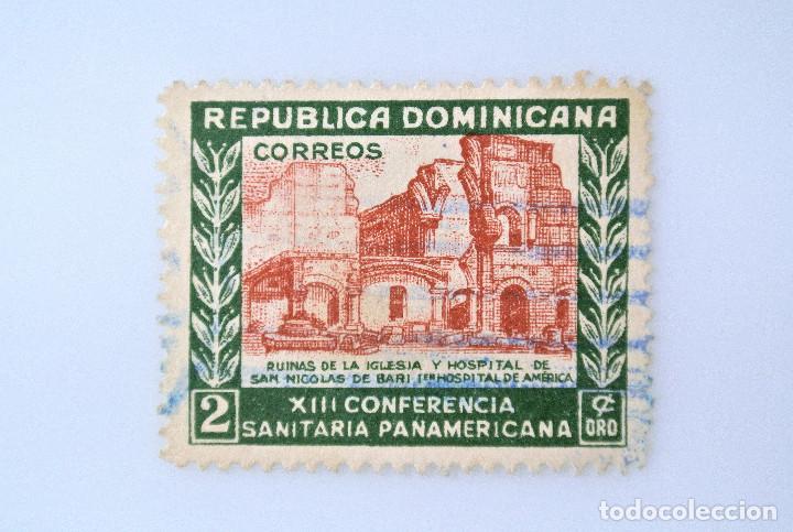 SELLO POSTAL REPUBLICA DOMINICANA 1950, 2 ¢ ,RUINAS IGLESIA Y HOSPITAL SAN NICOLAS DE BAR, USADO (Sellos - Extranjero - América - República Dominicana)