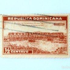 Sellos: SELLO POSTAL REPUBLICA DOMINICANA 1934, 1/2 ¢ , PUENTE GENERALISIMO TRUJILLO, USADO. Lote 229847250