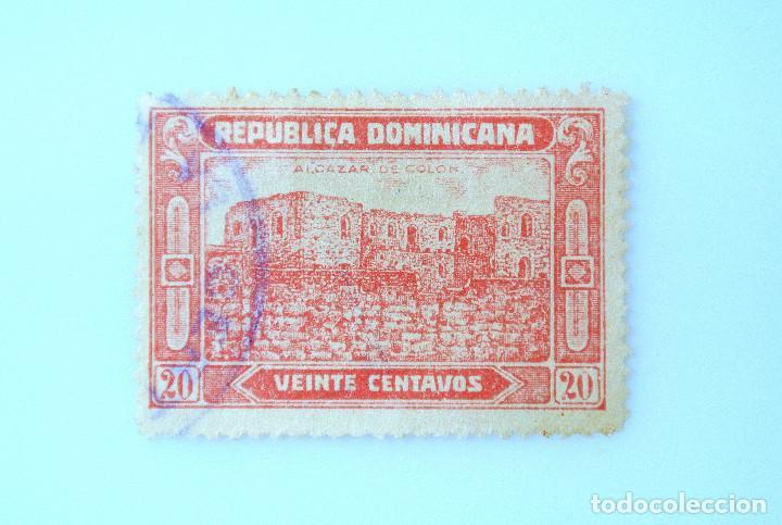 SELLO POSTAL REPUBLICA DOMINICANA 1928, 20 ¢ , RUINAS ALCAZAR DE COLON, USADO (Sellos - Extranjero - América - República Dominicana)