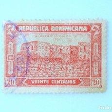 Sellos: SELLO POSTAL REPUBLICA DOMINICANA 1928, 20 ¢ , RUINAS ALCAZAR DE COLON, USADO. Lote 229850910