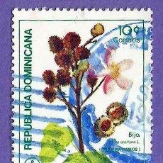 Sellos: REPUBLICA DOMINICANA. 1986. PLANTAS MEDICINALES. BIJA. Lote 242990970