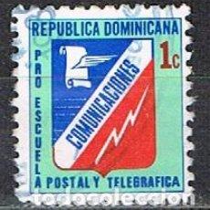 Sellos: REPUBLICA DOMINICANA, VIÑETA PRO ESCUELA POSTAL Y TELEGRAFICA, USADA. Lote 254052315