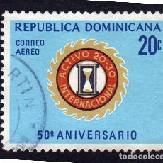 Sellos: AMÉRICA. R. DOMINICANA. 50 ANIVERSARIO L CLUB INTERNACIONAL ACTIVO YTPA239. USADO SIN CHARNELA. Lote 254629125