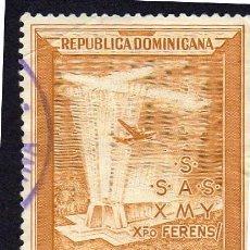 Sellos: AMÉRICA. R. DOMINICANA. AVIÓN SOBRE EL MAUSOLEO DE COLÓN YTPA85. USADO SIN CHARNELA. Lote 254631230