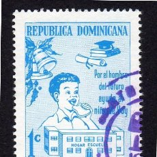 Sellos: AMÉRICA. R. DOMINICANA. MES DE LA PROTECCIÓN DE LA INFANCIA USADO SIN CHARNELA. Lote 254632215