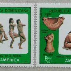 Sellos: 1989. REP. DOMINICANA. 1061 / 1062. TEMA AMÉRICA. PUEBLOS PRECOLOMBINOS. SERIE COMPLETA,. NUEVO.. Lote 274431368