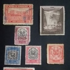 Sellos: LOTE 8 SELLOS REPUBLICA DOMINICANA ANTIGUOS VALORES Y FECHAS DISTINTOS / SEÑALES DE USO. Lote 274435233
