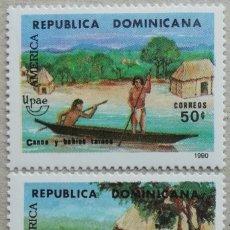 Sellos: 1990. REP. DOMINICANA. 1084-A / 1084-B. LA VIDA EN TIEMPOS DE CONQUISTADORES. SERIE COMPLETA. NUEVO.. Lote 275158333