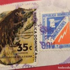 Sellos: 2 SELLOS REPÚBLICA DOMINICANA FAUNA SELENODONTE Y PRO ESCUELA. Lote 277180088