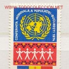 Timbres: RUMANÍA 1974. CONFERENCIA MUNDIAL SOBRE LA POBLACIÓN, BUCARES 1974. Lote 398304