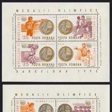 Sellos: RUMANIA 1992 HB225/26 MEDALLAS OLIMPICAS HB.B-92 III . Lote 4272748