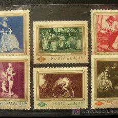 Sellos: RUMANIA 1967 IVERT 2286/91 *** CUADROS DE LA GALERÍA NACIONAL DE BUCAREST - PINTURA. Lote 18503916