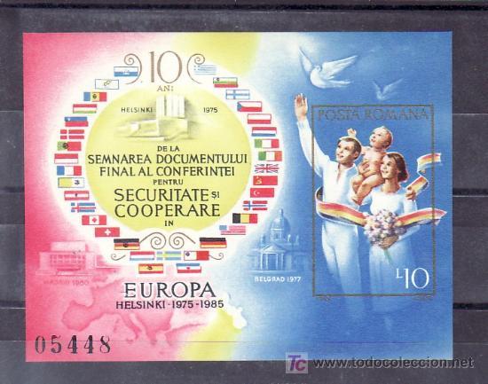 RUMANIA HB 173A SIN CHARNELA, PALOMA, FAMILIA, 10º ANIVERSARIO FIRMA ACUERDO DE HELSINKI, (Sellos - Extranjero - Europa - Rumanía)