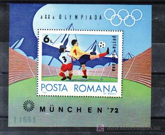 RUMANIA HB 98 SIN CHARNELA, DEPORTE, FUTBOL, XX JUEGOS OLIMPICOS DE MUNICH, (Sellos - Extranjero - Europa - Rumanía)