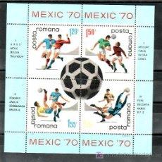 Sellos: RUMANIA HB 76 SIN CHARNELA, DEPORTE, MEXIC 70, COPA DEL MUNDO DE FUTBOL EN MEXICO. Lote 9524658