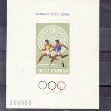 Sellos: RUMANIA HB 68 SIN CHARNELA, DEPORTE, JUEGOS OLIMPICOS DE MEXICO 1968. Lote 11704149