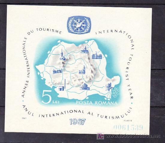 RUMANIA HB 64 SIN CHARNELA, MAPA, AÑO INTERNACIONAL DEL TURISMO, (Sellos - Extranjero - Europa - Rumanía)