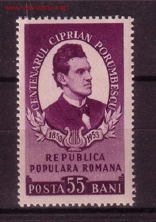 RUMANÍA 1331** - AÑO 1953 - MUSICA - CENTENARIO DEL NACIMIENTO DEL COMPOSITOR C. PORUMBESCU (Sellos - Extranjero - Europa - Rumanía)