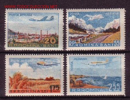 RUMANÍA AÉREO 65/68** - AÑO 1956 - AVIONES Y PAISAJES (Sellos - Extranjero - Europa - Rumanía)