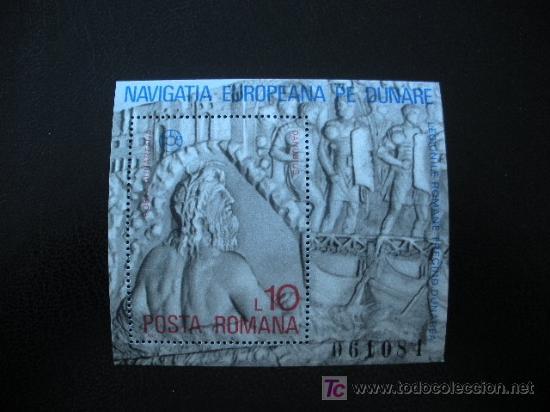 RUMANIA 1977 HB IVERT 130 *** NAVEGACIÓN EUROPEA SOBRE EL DANUBIO (Sellos - Extranjero - Europa - Rumanía)