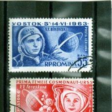 Sellos: SERIE COMPLETA DE ROMANIA AÑO 1963 C.A. YVERT NR.175/76 USADA COSMOS VOSTOK. Lote 11768135