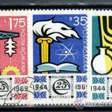 Sellos: ++ RUMANIA / ROMANIA / ROUMANIE AÑO 1969 YVERT NR.2477/79 USADA ANIVERSARIOS. Lote 12662225
