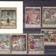 Sellos: RUMANIA 2667/72, HB 93 SIN CHARNELA, PINTURA, FRESCOS MONASTERIO NORTE MOLDAVIA, RELIGION, . Lote 23860296