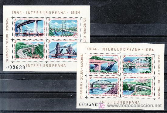 RUMANIA HB 166/7 SIN CHARNELA, BARCO, CARRETERA, PUENTE, ARQUITECTURA, CALABORACION ECONOMICA Y CULT (Sellos - Extranjero - Europa - Rumanía)
