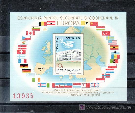 RUMANIA HB 161A SIN CHARNELA, BANDERA, PALOMA PAZ, CONFERENCIA SOBRE SEGURIDAD Y COOPERACION EN MADR (Sellos - Extranjero - Europa - Rumanía)