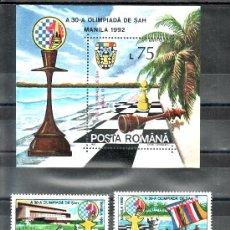 Sellos: RUMANIA 4007/8, HB 218 SIN CHARNELA, OLIMPIADA DE AJEDREZ EN MANILA,. Lote 18250830