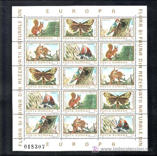 RUMANIA 3465/74 MINIPLIEGO SIN CHARNELA, FAUNA Y FLORES EUROPEA, PAJAROS, MARIPOSAS, RARO (Sellos - Extranjero - Europa - Rumanía)