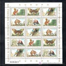 Stamps - rumania 3465/74 minipliego sin charnela, fauna y flores europea, pajaros, mariposas, raro - 27076897