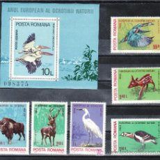 Sellos: RUMANIA 3271/6, HB 141 SIN CHARNELA, FAUNA, PAJAROS, AVES, AÑO EUROPEO PROTECCION NATURALEZA,. Lote 185971430