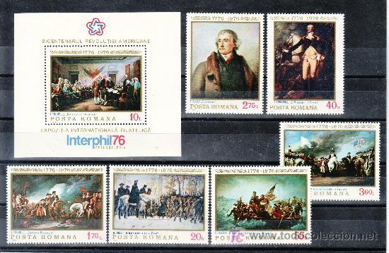 RUMANIA 2943/8, HB 124 SIN CHARNELA, PINTURA,BICENTENARIO DE LA INDEPENDENCIA DE LOS EE.UU. (Sellos - Extranjero - Europa - Rumanía)