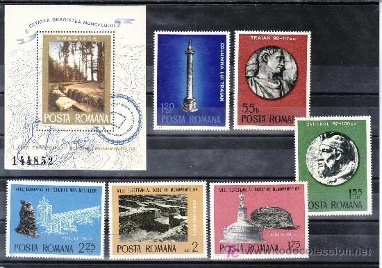 RUMANIA 2901/6, HB 119 SIN CHARNELA, ARQUEOLOGIA, AÑO EUROPEO DE LA PROTECCION DE LOS MONUMENTOS, (Sellos - Extranjero - Europa - Rumanía)